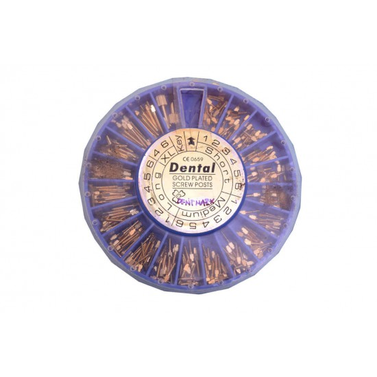 Dental Metal Screw Post Gold Plated Dentmark Metal Post